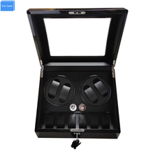 2017 gift watch accessories box watch winder black woodes case for 4 rotator watches 6 storage movement ratator boxes winders
