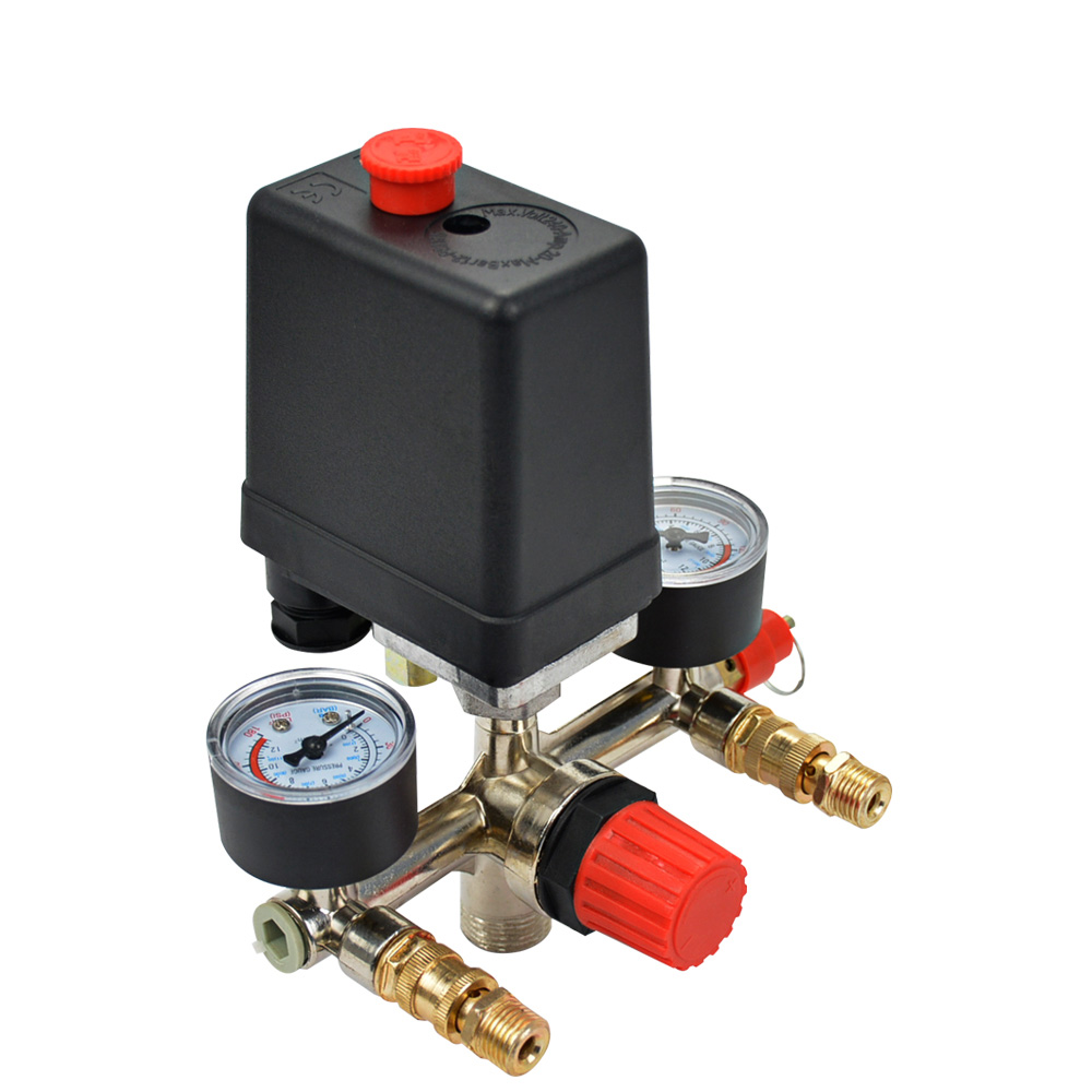 Pressure Switch Air Compressor Valve Single Hole Relief Regulator Pressure Switch Stand Gauges 40343 adjustable pressure switch air compressor switch pressure regulating with 2 press gauges valve control set