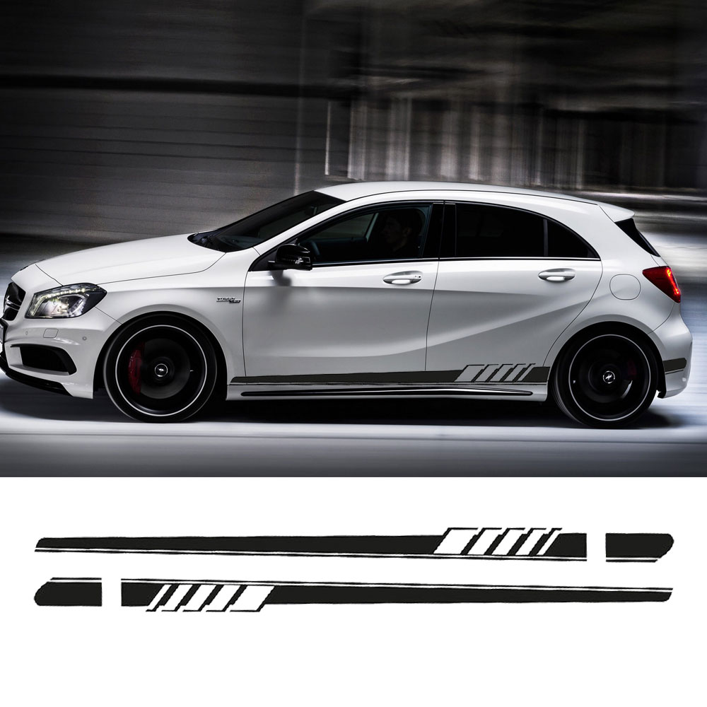 2017 NEW Edition 1 Style Side Skirt Racing Stripe Decal Stickers for Mercedes Benz W176 A Class A180 A200 A250 A45 AMG image