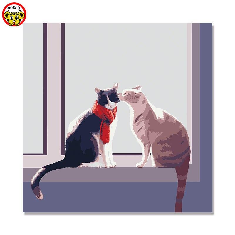 Картина по номерам, художественная краска по номерам, две кошки, совы, кошки, ручная работа, на холсте, цифровая, масляная, настенная, декор на...