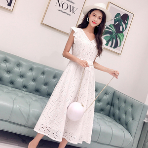 Image 3 - YiLin Kay 2020 High end custom  Heavy industry hollow out water soluble lace dress V NeckEmbroidered white party dresses