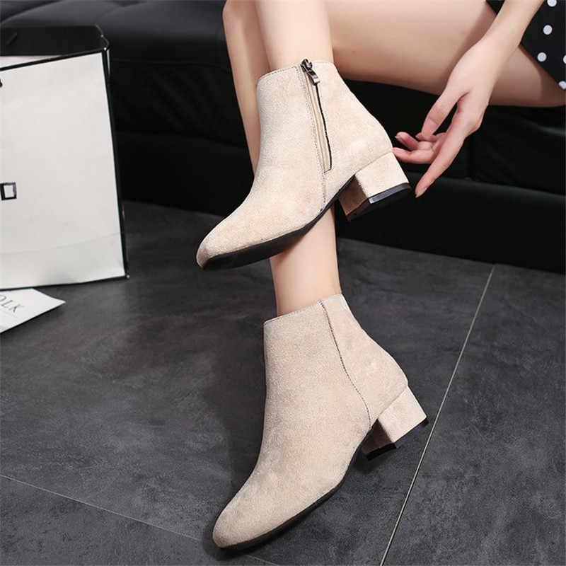 COOTELILI yarım çizmeler Kadın Topuklu rahat ayakkabılar Kadın Sahte Süet siyah çizmeler Kadın Akın Chelsea Botas Mujer Kare Ayak