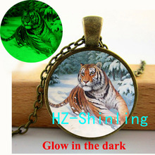 GL-00691 Glow Pendant Wild Tiger Necklace Wild Animal Pendant Glowing Tiger Jewelry Glass Photo Pendant Glowing Necklace