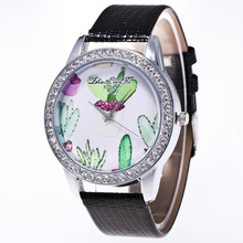 Plant Cactus Pattern Silver Diamond Alloy Dial Black Leather Strap Ladies font b Couples b font