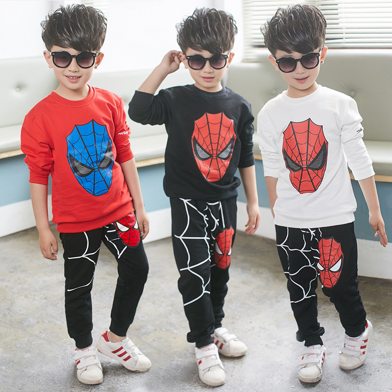 Spiderman Baby Boys Kid SportsWear Tracksuit Outfit cartoon Suit Summer kids boys clothes longsleeve clothing set 2017 new boys clothing set camouflage 3 9t boy sports suits kids clothes suit cotton boys tracksuit teenage costume long sleeve