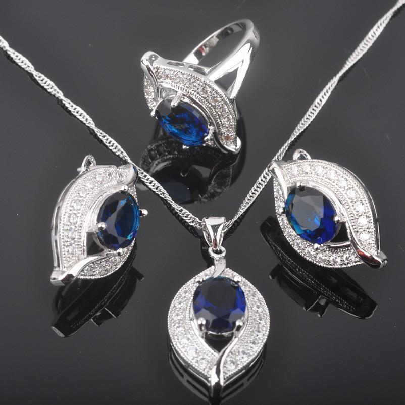 Hilfreich Fahoyo Eye Design Blau Zirkonia Weiß Cz Frauen 925 Sterling Silber Schmuck Sets Ohrringe/anhänger/halskette/ringe Qz0232 100% Garantie Hochzeits- & Verlobungs-schmuck