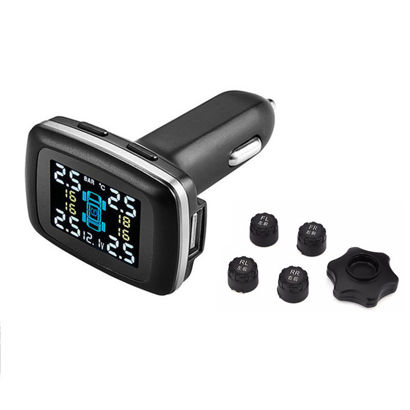 car Tire Pressure Monitoring System Real Time Update Digital LCD Display 12V Auto Security Alarm Systems Wireless Smart TPMS gprs real time guard patrol monitoring system made in china