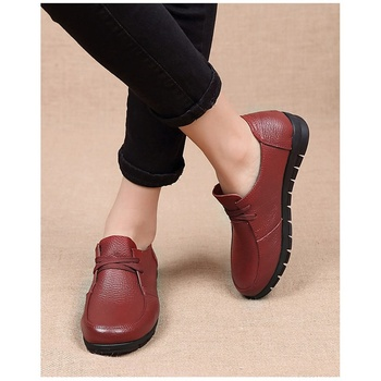 Designer Women Flats Genuine Leather Shoes Female Slip on Loafers Anti Slip Moccasins Casual Zapatillas Mujer 2019 Plus Size 1