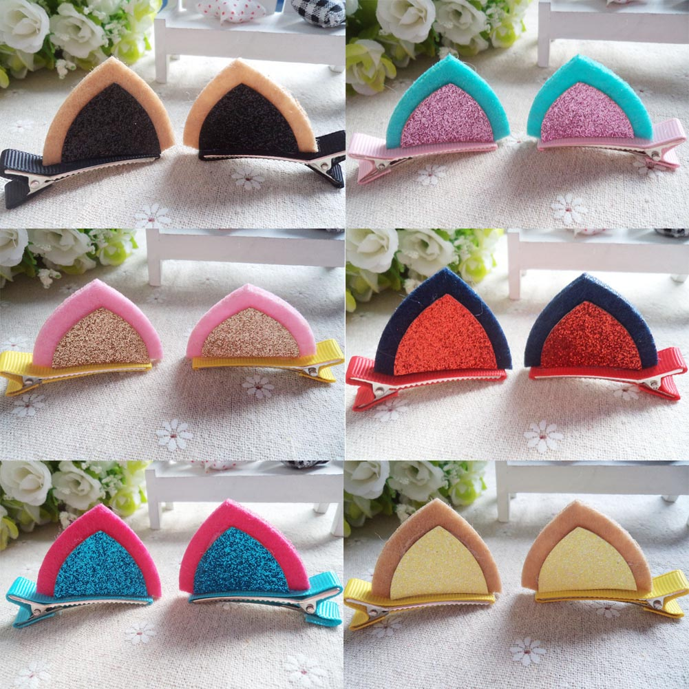New 1Lot=2Pcs Stereo Double Cat Ear Clip With Sequins Ears Kid's Hair Clip Sweet Of Fan Cute Shape Hairpins Children Accessories