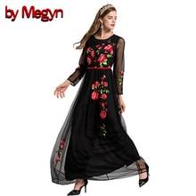 По megyn макси осень платья 2017 винтажное платье Черный цветочной вышивкой Большие размеры XXL Длинные Платья Vestidos De Festa