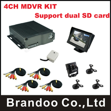 4CH MDVR,support dual sd card,for taxi,bus,turck,private car,driving school car,include 1pcs 4.3inch monitor