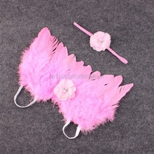 Stylish Newborn Baby Kids Feather Lace Headband & Angel Wings Flowers Photo Prop #HC6U# Drop shipping