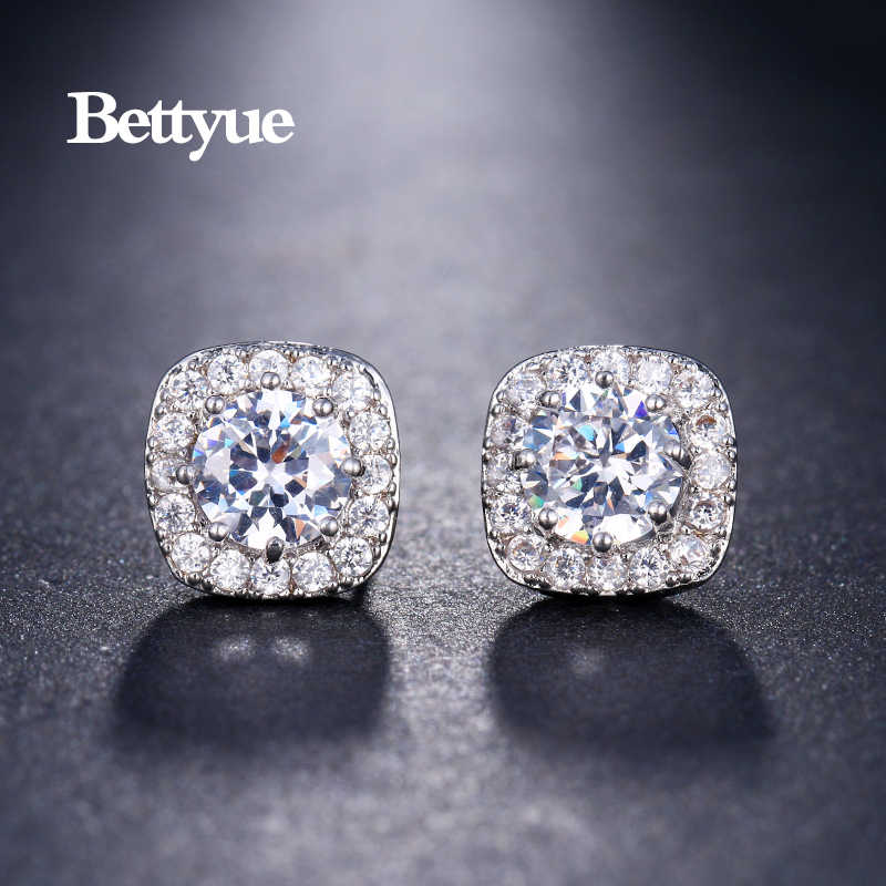 Bettyue Charming Marke 9,5mm Mode Damen Geometrie Cubic Zirkon Ohrringe Multi Schmuck Stud Elegante Geschenk Für Party