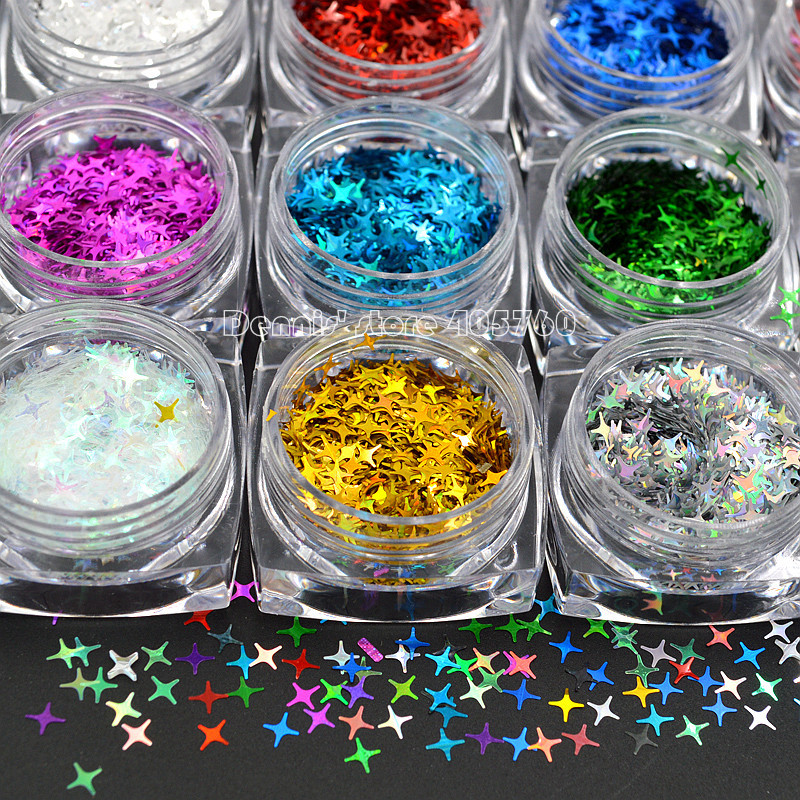 High Quality 12 Colors Gittler Shiny Stars Light Nail Art Sequins Slice Decals DIY Beauty Salon Tips 3d 12 candy colors glass fragments shape nail art sequins decals diy beauty salon tip free shipping