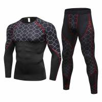 2018 New arrival Quick Dry Fitness Tights Running Set Men Sport Suit Gym Training Sports Clothing Man's Compression Sportswear