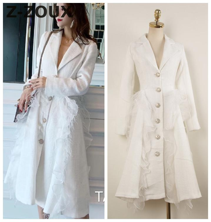 Z-ZOUX Woman Coat Feather Splice Ruffle Turn-down Collar Long Coats White Fashion Vintage   Trench   Coat For Women 2018 New Sexy