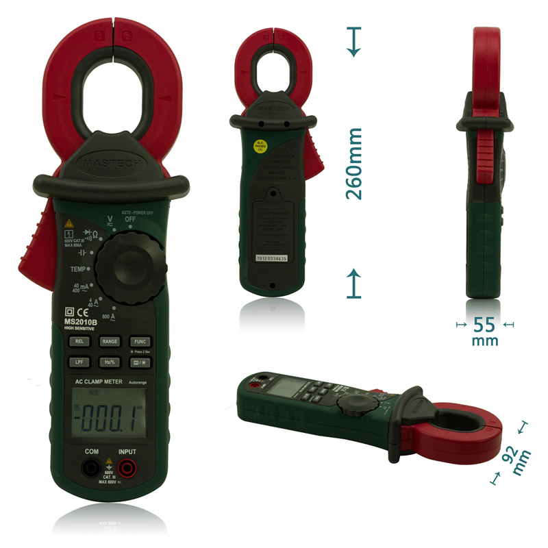 MASTECH MS2010B  AC/DC Mini Handheld Digital Clamp Meter Voltage Current Resistance Tester Multimetro with Test Leads Multimeter