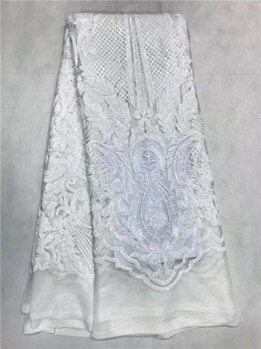 DHL free shipping white sequins lace fabric 5yardlot african lace fabric with pure sequin high quality african sequin fabric