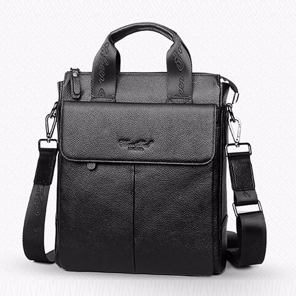 Men Genuine Leather Business Briefcase First Layer Cowhide Shoulder Messenger Casual Bag High Quality Famous Brand Tote Handbag baillr brand men briefcase first layer of cowhide real leather men crossbody shoulder bag men genuine leather handbag for laptop