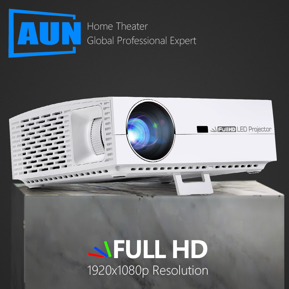 AUN F30 Projetor Full HD, 1920x1080P Pixel, 6500 Lumens.3D LED Beamer para Home Theater. Android Versão F30UP Suporta 4 K/5G Wi-fi