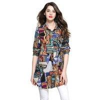 Bohemia Long Mulheres Camisa Padrão de Impressão Do Vintage Lady Camisetas Turn Down Collar Manga Comprida Assimétrica Hem Primavera Blusas Femininas