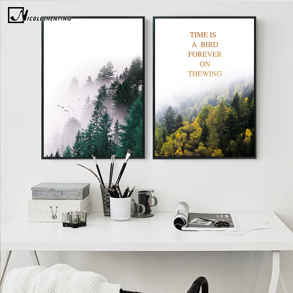 Nordic Style Forest Landscape Poster Print Motivational Quote Minimalist  Wall Art Canvas Painting Scandinavian Modern Home Decor In Painting U0026  Calligraphy ...