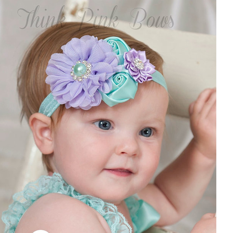 1 Pieces Newborn Cute Baby Pearl Rose Flower Hair Band Chiffon Baby Headband Ribbon Elasticity Hair Accessories Headwear W171