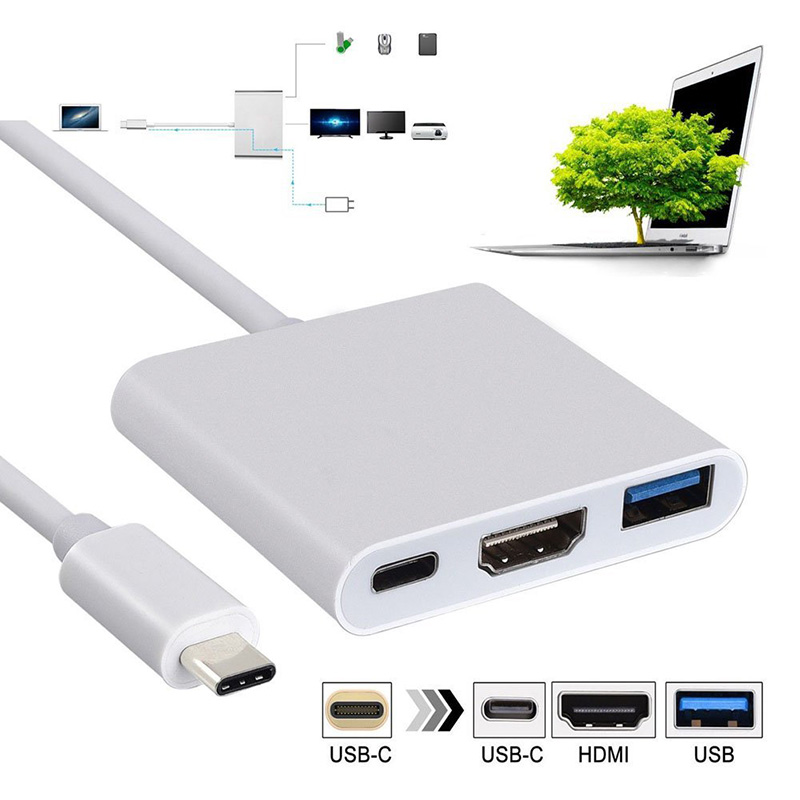 New Type C To 4K HDMI USB 3.0 Charging Adapter Converter USB-C 3.1 Hub Adapter For Mac Air Pro Huawei Mate10 Samsung S8 Plus