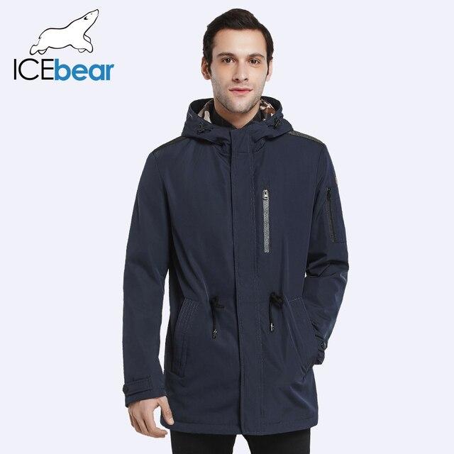 ICEbear 2017 Пальто Для Мужчин Регулируемый Пояс Шляпа Съемная Весна Осень Мужчины Новый Случайный Средней Длины Пальто Куртки 17MC017D