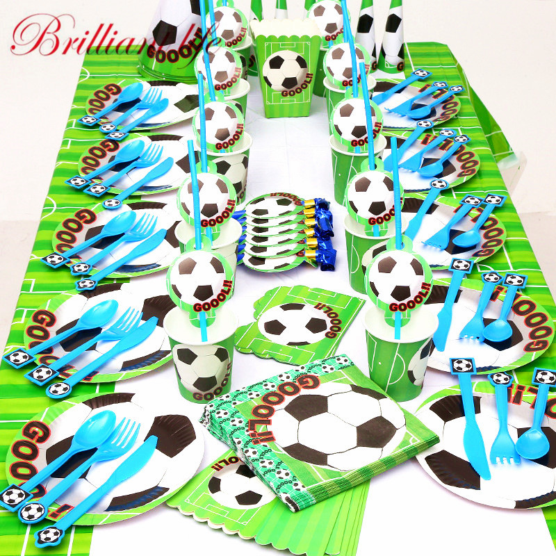 234pcs/lot Green Football Theme Festival Boys Favor Birthday Party Paper Cup Plate Straw Baby Shower Blowout Gift Bag Supply