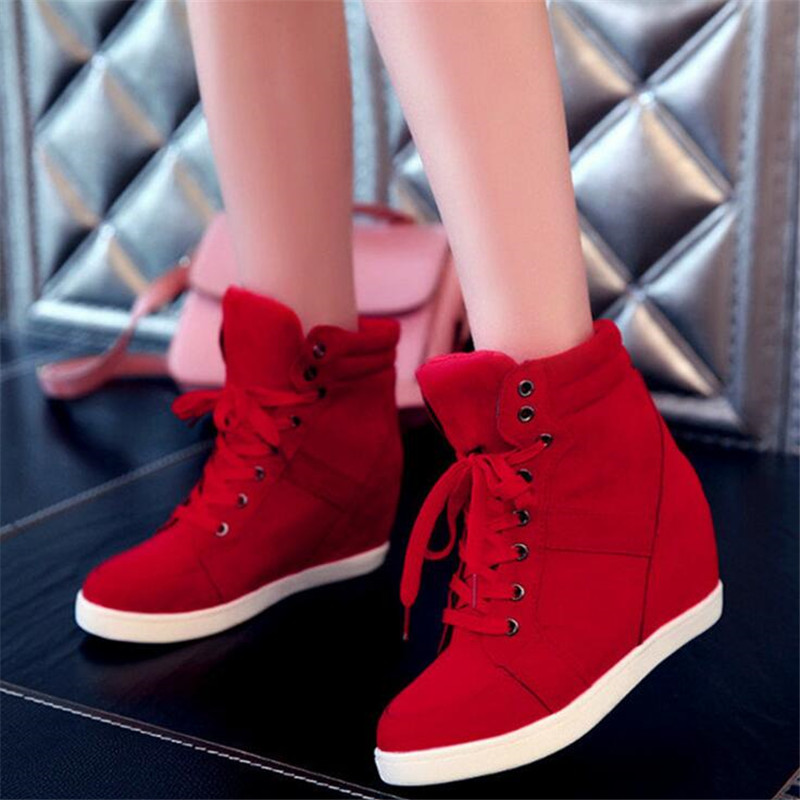 2016 New Womens High Top Lace Up Athletic Sneakers Shoes Lady Wedge Ankle Sports