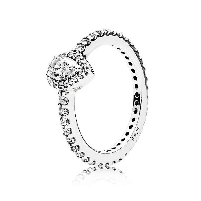 d39e0690b Authentic 925 Sterling Silver Ring Radiant Small Teardrop With Crystal Rings  For Women Wedding Party Gift