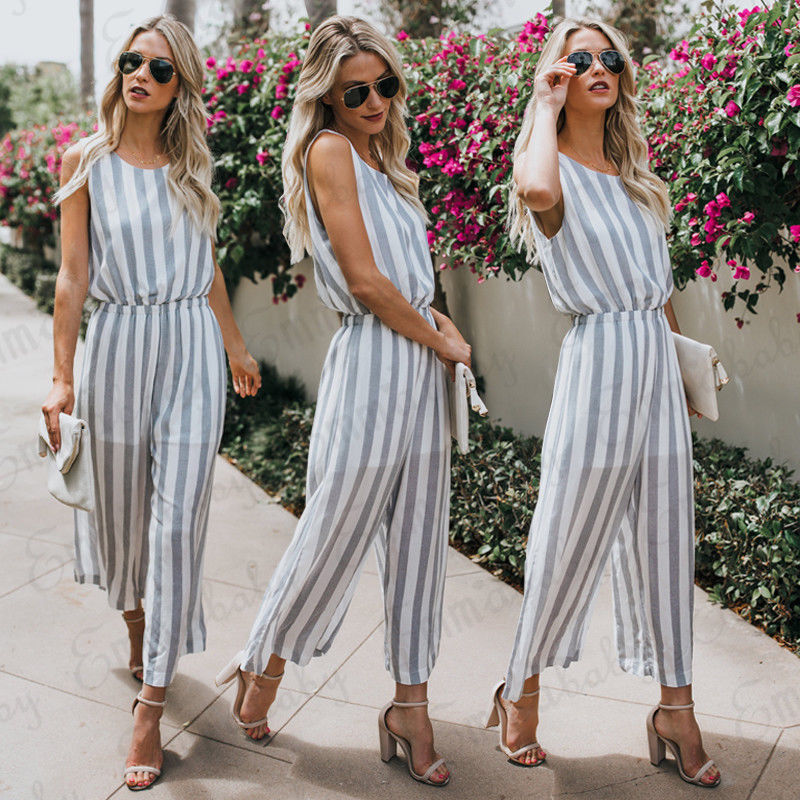 Women Ladies Jumpsuit Bodysuit Striped Rompers womens jumpsuit Summer Casual Sleeveless Backless Romper Fashion New