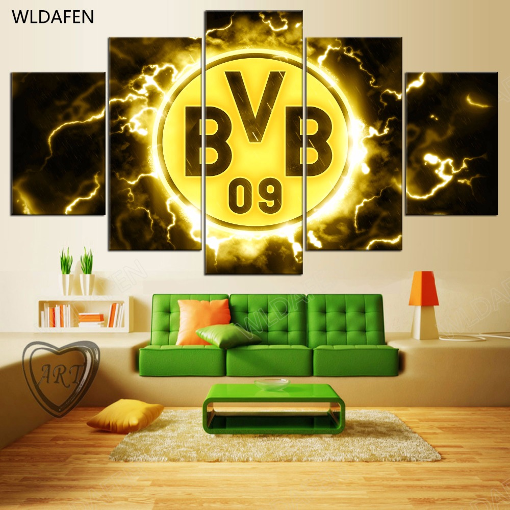 5 Pieces Sports Team Deco Fans Posters Oil Painting On Canvas Modern Home Pictures Prints Decor Living Room PH4-1767