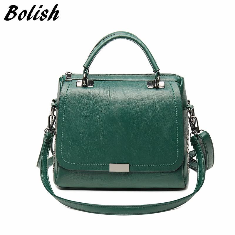 Bolish Casual Women Soft Pu Leather Handbag Female Shoulder Bag Messenger Bag Larger Size Winter Women Bag