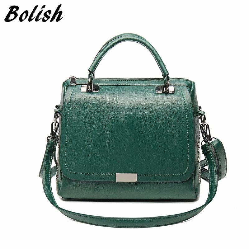 Bolish Повседневное Для женщин из мягкой искусственной кожи женская сумка на плечо сумка больше Размеры зима Для женщин сумка