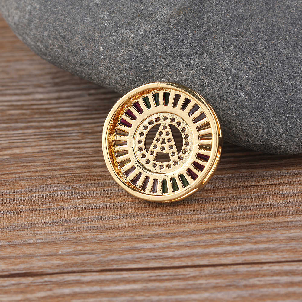 Thời Trang mới mẻ Cầu Vồng Vàng Micro Mở Đường CZ Đính Đá Cubic Zirconia A-Z Tên Viết Tắt Chữ Mặt Dây Chuyền Vòng Cổ Cho Phụ Nữ Họ Món Quà Trang Sức