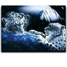 5d Diy diamond paint Diamond cross stitch animal embroidery Square / Round room restaurant Two leopards