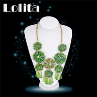 New Women 18K Yellow Gold Plated Natural Stone Necklaces Indian Jewelry Chic Metal Collar Statement Flower