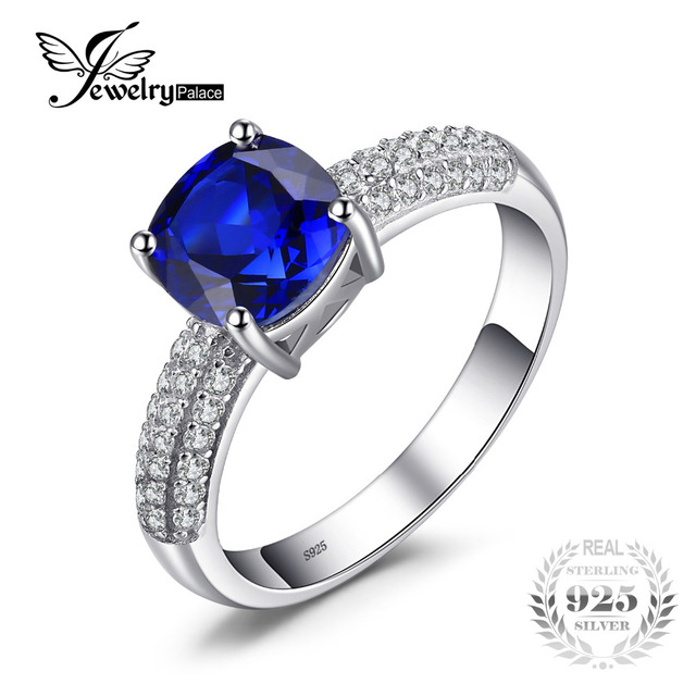 JewelryPalace Brand Cushion 2.6ct Created Blue Sapphire Engagement Rings For Wom