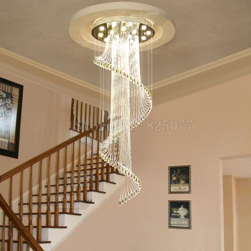 DHL Modern hotel crystal chandeliers Dia800 H2600mm villa duplex stairs hall led light hotel crystal chandeliers JF1300 in Chandeliers from Lights Lighting