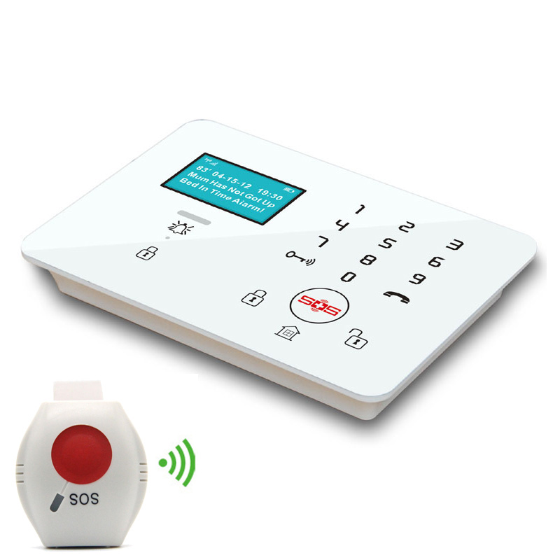 Wireless GSM Alarm System Security Home Burglar Olderly care APP Controlled LCD Disply SOS Panic Button K9