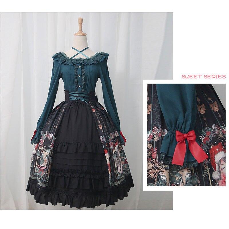 Imprimé Doux À ~ Volants Noir Haute Longue Joyeux Taille Noël Jupe Lolita tqZx464w