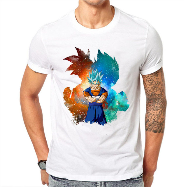 100 Coton Hommes 3d T Shirt Dragon Ball Z Goku Super Saiyan Dieu