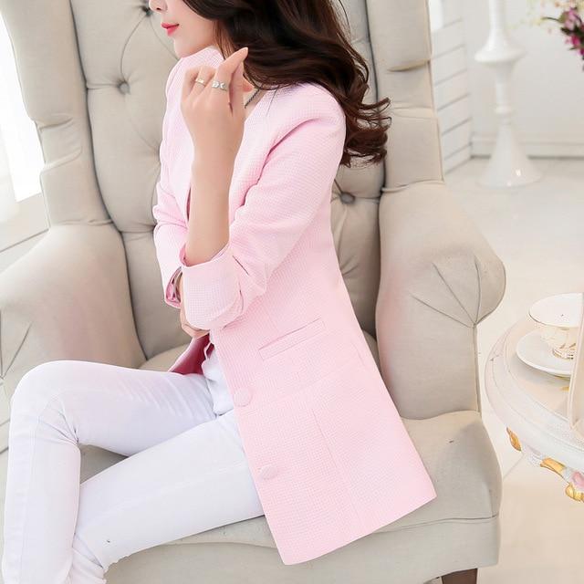 Women Spring Summer Outerwear Jacket Elegant Office Ladies Candy Color White Black Coat Suit Plus Size Jacket Casual Coat
