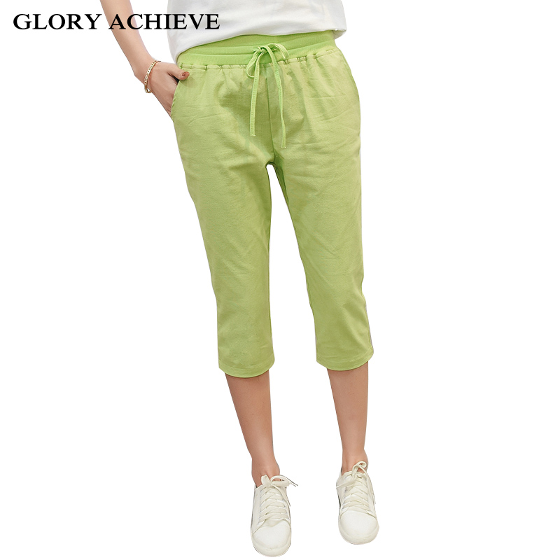 Summer Style Women's Casual Pants Capris Fashion Cotton Linen pants elastic waist Drawstring harem pants Candy color Trousers