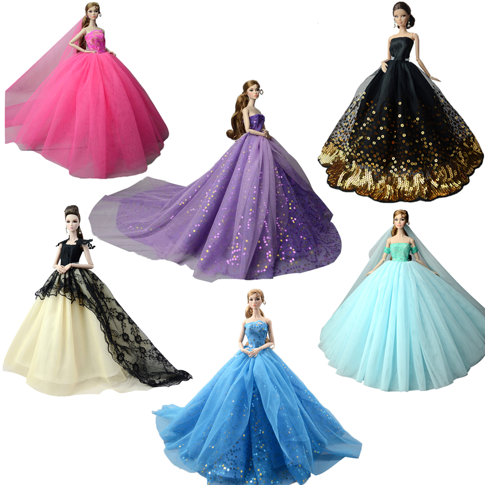 NK 2019 Princess Doll Clothes Handmake Wedding Dress Fashion Evening Party Outfit For Barbie Doll Accessories FR Noble Doll JJ