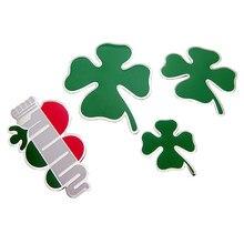 Badge de trèfle vert en aluminium, 1 pièce, pour Alfa Romeo, emblème de style de voiture, symbole de chance, d'amour, de santé