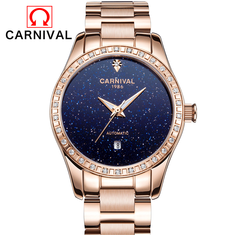 CARNIVAL 2017 Ladies Diamond Display Women Top Brand Luxury Simple Stars Skeleton Transparent Case Automatic Mechanical WatchesCARNIVAL 2017 Ladies Diamond Display Women Top Brand Luxury Simple Stars Skeleton Transparent Case Automatic Mechanical Watches