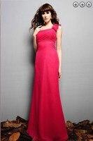 Livraison gratuite nouvelle mode 2018 élégante une épaule fleurs pli mariées robes formales mousseline de soie longue